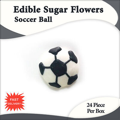 Edible Sugar Flowers 24 Soccer Ball Cupcake Decorations Toppers-Sydney Only