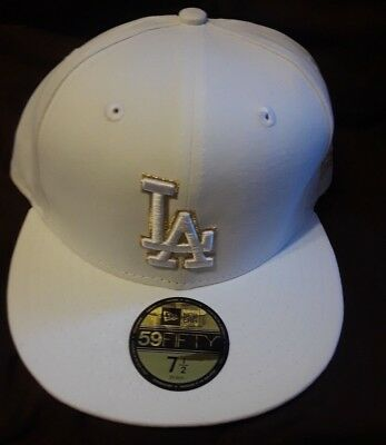 f96d6ac7f New Era 5950 Los Angeles Dodgers 2017 GAME Fitted Hat (White/Gold) MLB