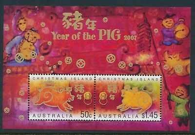 2007 Christmas Island Year Of The Pig Minisheet Fine Mint Mnh