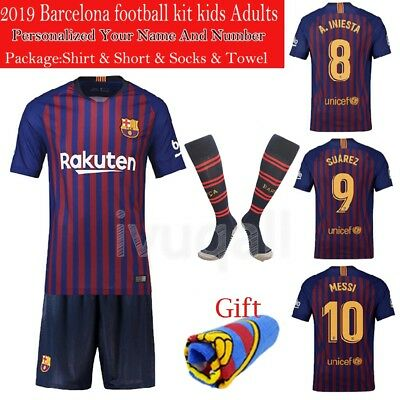 2018 Fcb Football Soccer Jersey Kids Adult Kits Sports Suit With Socks Boy Youth