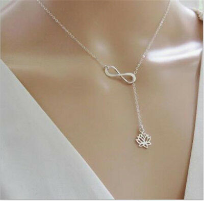 Fashion Infinity Lotus Pendant Necklace Lucky 8 Chain Jewelry for Women Gift New