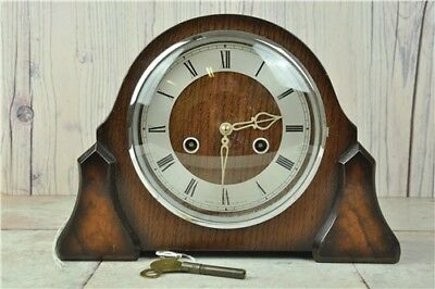 VINTAGE CHIMMING MANTEL CLOCK by SMITHS ENFIELD WITH KEY & PENDULUM