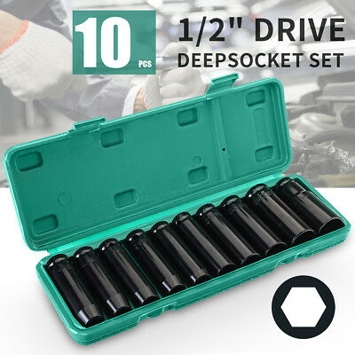 10Pcs Heavy Duty 1/2'' Drive 8-24mm 6 Point Deep Impact Metric Socket Set Tool