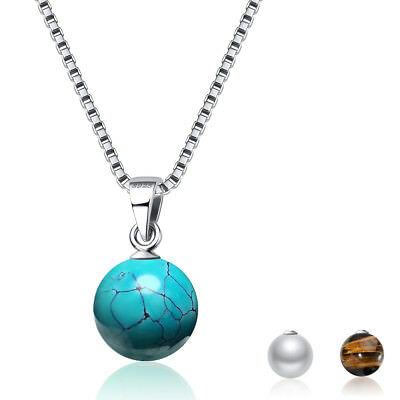 Tiger Eye's Stone 925 Sterling Silver 18MM Bead Pendant Necklace Chain for Women