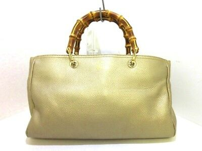 251b313f86f Auth GUCCI Bamboo Shopper Leather Tote 323660 Gold Leather Tote Bag