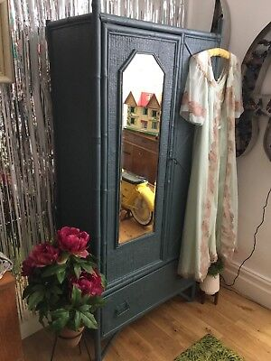 Antique Wood,Tiger Bamboo & Rattan Painted Wardrobe, Mirrored,