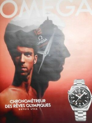"""AFFICHE POSTER GEANT   OMEGA """" M. PHELPS """"  2016       120x180   TBE   NON PLIEE"""