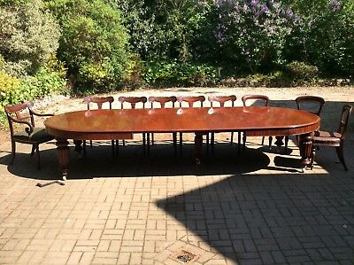 Large Antique Victorian 12ft, 6in Windout Mahogany Extending Dining Table,