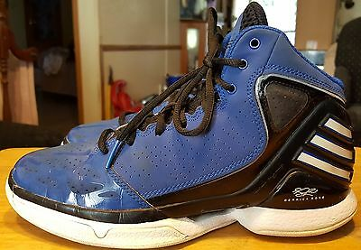 Adidas Derrick Rose high tops blue/black size 6 leather/patent leather with lace