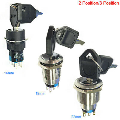 16/19/22mm Waterproof Security Key Switch Lock 2/3 Position 1NC 1NO;2NO 2NC