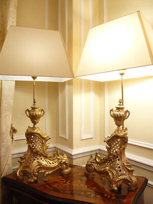Pair Of Large Lamps, Rococo Style, Era 19Th - Bronze - French Antique