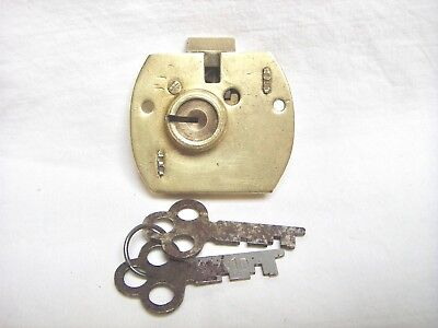 NOS VINTAGE Corbin Lock Co. Small Brass Cabinet Drawer Spring Bolt & 2 Keys