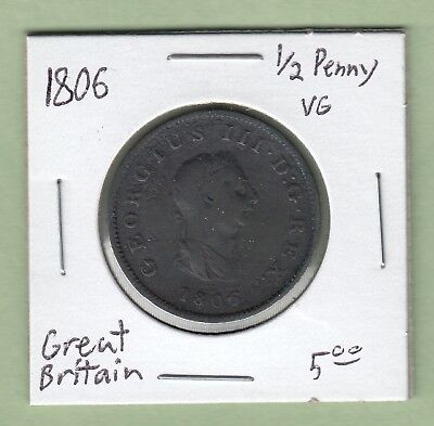 1806 Great Britain 1/2 Penny Coin - George III - VG