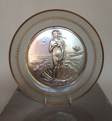 Acca Italy 925 Sterling Silver & Glass Plate - Nude Maiden