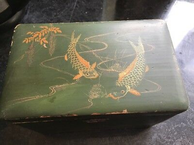 Antique  Lacquered Wood Oriental Tea Caddy With Koi Carp Decorations
