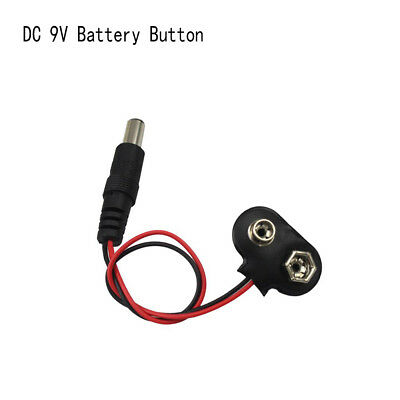2/5pcs New Arduino DC 9V Adapter Power Plug Cable Connector Battery Button