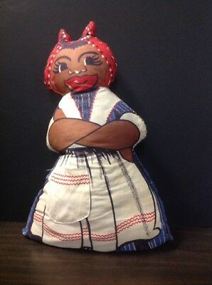 Vintage Mammy Doll Black Americana  Rag Cloth Aunt Jemima 15""