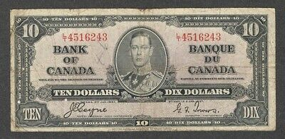 1937 $10.00 BC-24c VG King George VI COYNE-Towers Bank of Canada OLD Ten Dollars