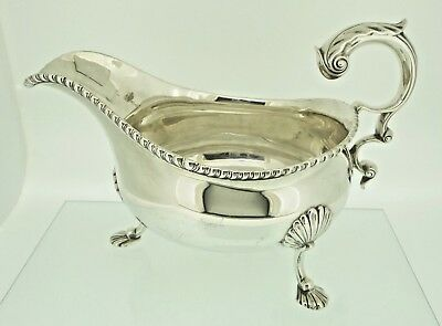 Large Antique George III Style Solid Silver Sauce Boat Garrard & Co 375 grams