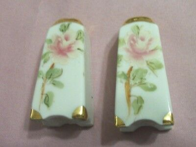 Small Vintage Hand Painted Pink Roses Salt And Pepper Gold Trim