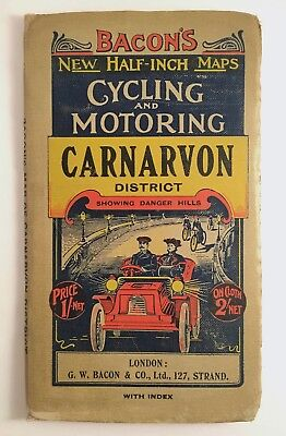 BACON'S Half-Inch Map CARNARVON District scarce Cycling & MOTORING VG++ VTG