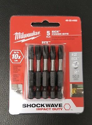 "Milwaukee 48-32-4492 SHOCKWAVE 2"" Power Bits ECX #2 (5 Pack)"