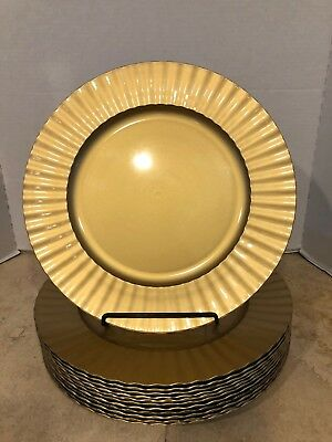 """Gold Tone Plate Chargers Fluted Ruffle Edges 13"""" Diameter Set of 12 EUC"""