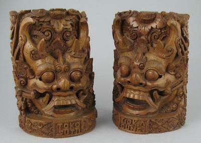 Pair Vintage Balinese Temple Dragon Wood Carvings Bookends Tjok Agung Toko Sutji