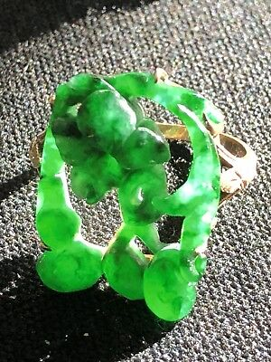 Vintage Antique Chinese Carved A Jade Translucent Emerald Color Ring & Rose Gold