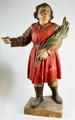 * Child Martir In Polychromed Woodcarving Viii Century. 104 Cm. High.