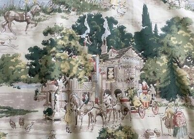 VTG Sanderson Ye Old England Country House Fabric 30s-50s Curtain Remnants Retro