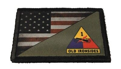 Full Color 1st ARMORED Division  US Flag Morale Patch Tactical Military ARMY