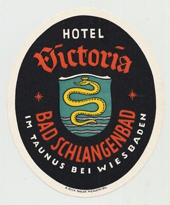 Hotel Victoria - Bad Schlangenbad / Germany (Vintage Luggage Label 40s/50s)