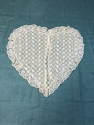 "Antique Tambour Net Lace Pillow Heart Shaped with French Lace Ruffle 16"" x 18"""