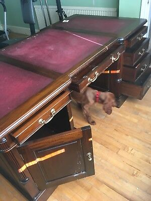A large Two Pedestal Partners Leather Top Writing Desk