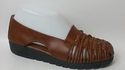 18e00acd00a Aerosoles Brown Woven Leather Loafers Flats Womens 6.5 Med Slip On Career  Shoes
