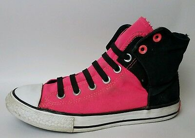 7d65ead1d5c7 ... closeout converse girls hot pink black canvas high top sneaker shoes  size 4 youth slip on