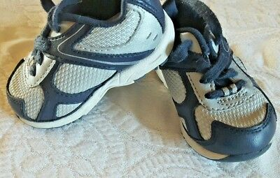 9e2e688df1f2 Champion Sneaker Baby tennis shoes Lace Up Size 3 Wide Boys Blue Grey White  Cute