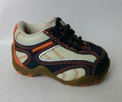 Childrens Place Toddler Boys sz 3 Baby Casual Shoes Blue Orange Leather Sneakers