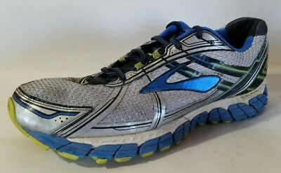 61337519b64ac Brooks Adrenaline GTS 15 Mens Size 12.5 M Running Shoes White Silver Blue  Green