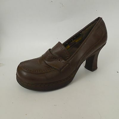 b9ed41711f57 SODA Womens Brown Faux Leather Loafer Heels Pumps Shoe sz 6.5 M Career 3.5  inch
