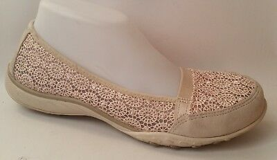 SKECHERS 22482 Beige Suede Leather Lace Slip On Casual Ballet Flat Shoe Wmns 9 M