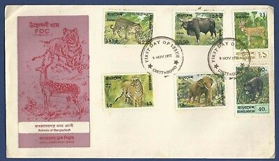 Bangladesh 1977 Mnh Fdc Animals Sloth Bear Spotted Deer Leopard