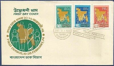 Bangladesh 1974 Fdc First Population Census, Man, Woman, Child Girl Boy Family
