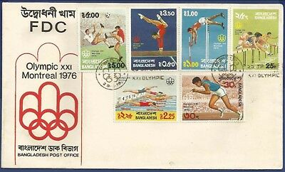 Bangladesh 1976 Mnh Fdc Olympic Games Montreal Hurdling Running Swimming