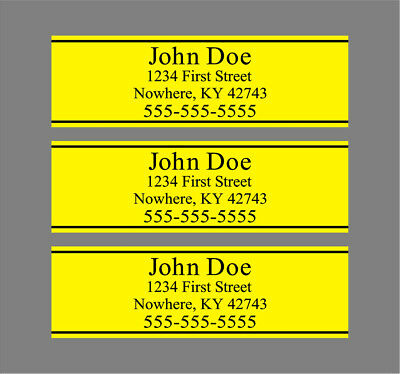 Custom Yellow Golf Shaft Labels With Your Information