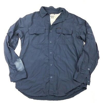 341865e5601 COLUMBIA Titanium Omni Shade Navy Blue Button Up Long Sleeve Men's size M  Shirt