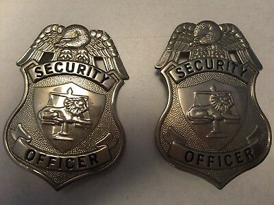 Vintage 2 Silver or Gold Security Guard Officer Badge shield lion scale, eagle
