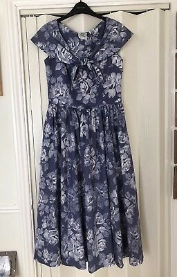 Laura Ashley,Vintage Shawl Collared Cotton Dress in Blue Floral Size 14  to 12