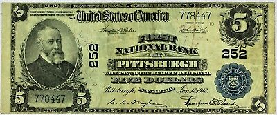 CRISP $5 First National Bank of Pittsburg, Pennsylvania Series of 1902 Ch. #252